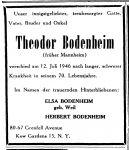 Todesanzeige für Theodor Bodenheim