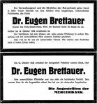 Todesanzeige für Eugen Brettauer
