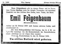 Todesanzeige für Emil Feigenbaum