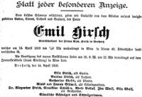 Todesanzeige Emil Hirsch