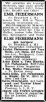 Todesanzeige für Emil und Else Fiebermann