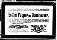 Todesanzeige von Esther Popper (geb. Dannhauser)