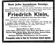 Todesanzeige Friedrich Klein