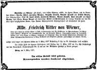 Todesanzeige für Friedrich von Wiener