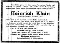 Todesanzeige Heinrich Klein