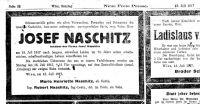 Todesanzeige für Josef Naschitz