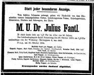 Todesanzeige für Julius Fantl