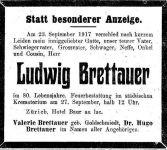Todesanzeige für Ludwig Brettauer