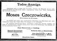 Todesanzeige für Moses Czeczowiczka