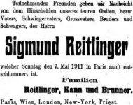 Todesanzeige für Sigmund Reitlinger