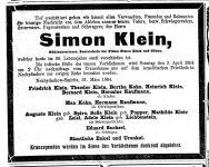 Todesanzeige Simon Klein