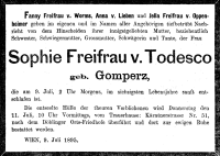 Todesanzeige für Sophie Gomperz