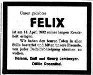 Todesanzeige für Felix Lemberger