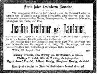 Todesanzeige Josefine Brettauer, geb. Landauer