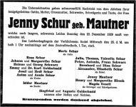 Todesanzeige für Eugenie (Jenny) Mautner
