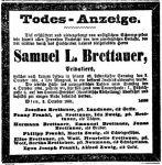 Todesanzeige Samuel Brettauer
