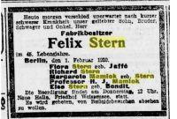 Todesanzeige Felix Stern