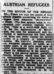 Oskar Trebitsch, 'Austrian Refugees' (letter to the editor), in: Sidney Morning Herald, 12.4.1941
