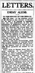 Oskar Trebitsch 'Enemy Aliens' (letter to the editor), in: Sidney Morning Herald, 30.12.1940