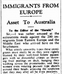 """'Immigrants from Europe"""" (letter to the editor), in: Sidney Morning Herald, 29.10.1946"""