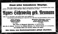 Todesanzeige für Agnes Neumann-Sichrovsky
