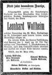 Todesanzeige Leonhard Wollheim