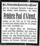 Todesanzeige für Paul d'Abrest Neue Freie Presse, Wien Juli 1893