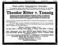 Todesanzeige für Theodor Ritter von Taussig
