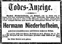 Todesanziege für Hermann Niederhofheim