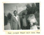 Hochzeit Ernst Lamm (Yehuda Ben Josef) mit Eleanor (Ilana) Zukoff, mit Rabbiner (mitte), Kibbuz Yass'Ur, Februar 1961