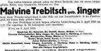Todesanzeige für Malvine Trebitsch (geb. Singer)