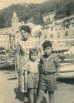 Regina, Peter und Ronny Loewy, Portofino, September 1956